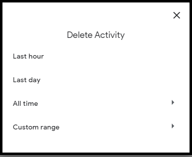 How to delete My Activity in Google