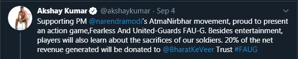 Akshay Kumar Tweet on FAUG