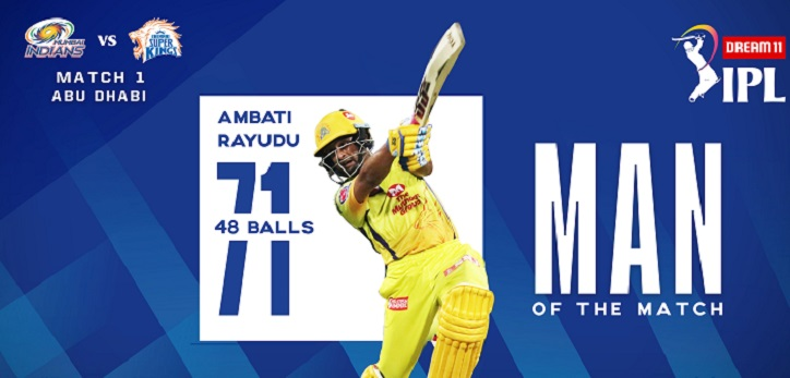 Ambati Rayudu is adjudged the Man of the Match for his magnificent knock of 71 off 48 deliveries