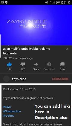 Posting links on YouTube