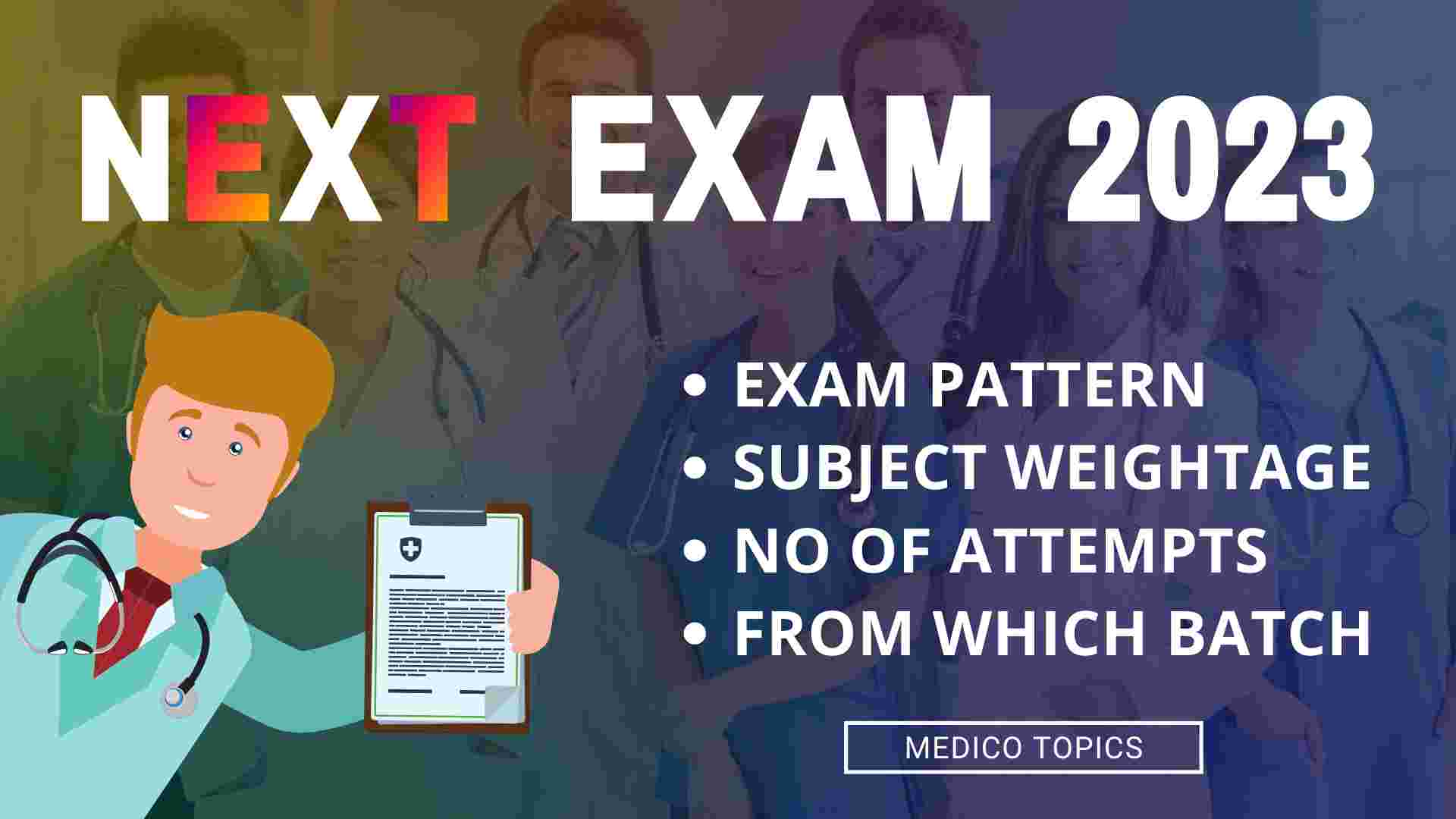 NEXT Exam 2023 for Medical students - Exam pattern, Subject wise weightage